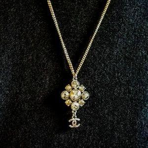 SALE! Chanel Crystal Argyle CC Dangle Necklace